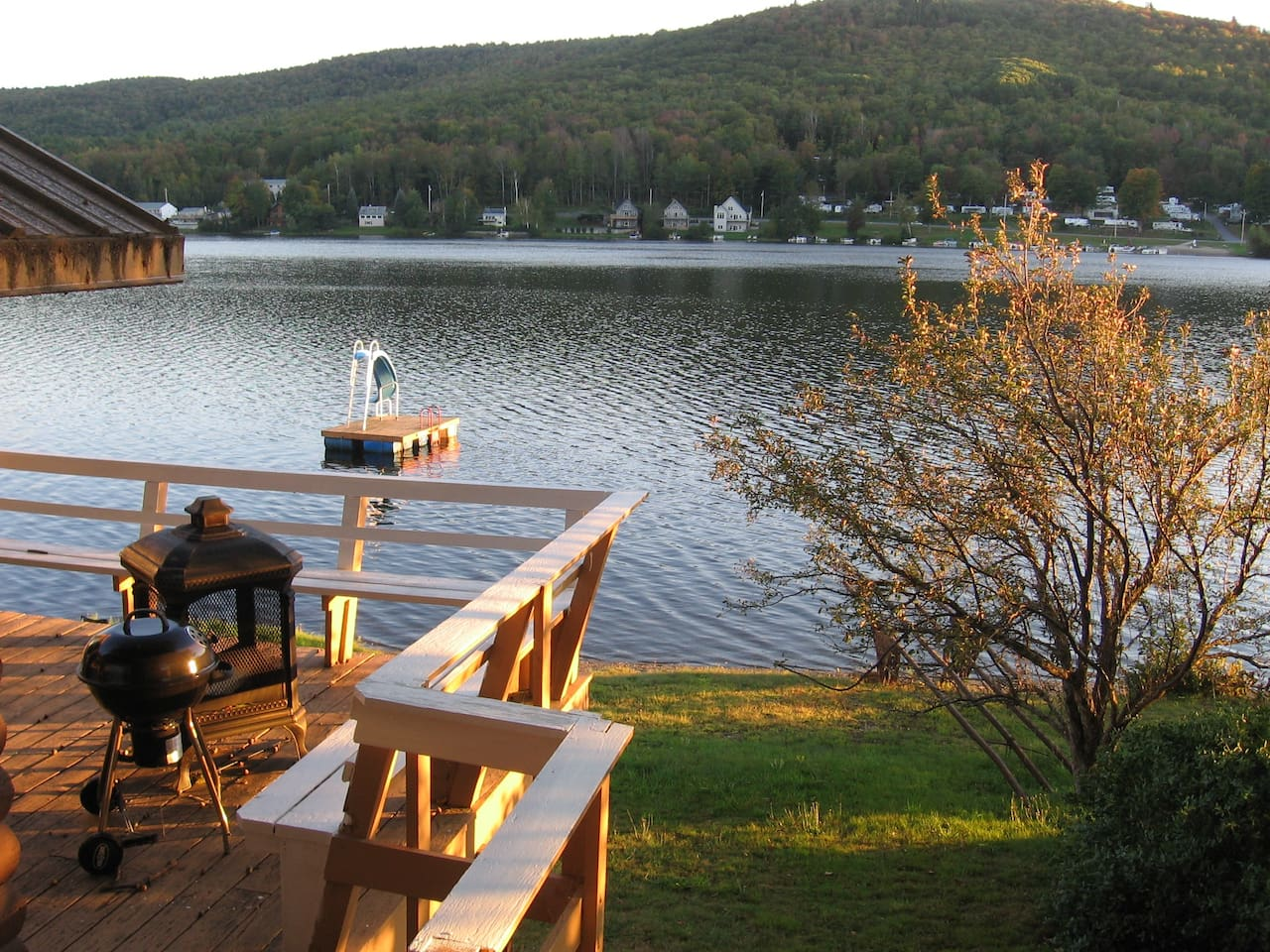 View of the lake from our treehouse; note the deck with fireplace.