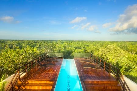 New Luxury Design Suite inside the brand new Los Amigos Condos Tres with just 5 exclusive units and the most spectacular sky infinity pool in tulum. Highest rooftop lounge, wifi, flat tv, full kitchen, king size bed, free beach bikes, AC