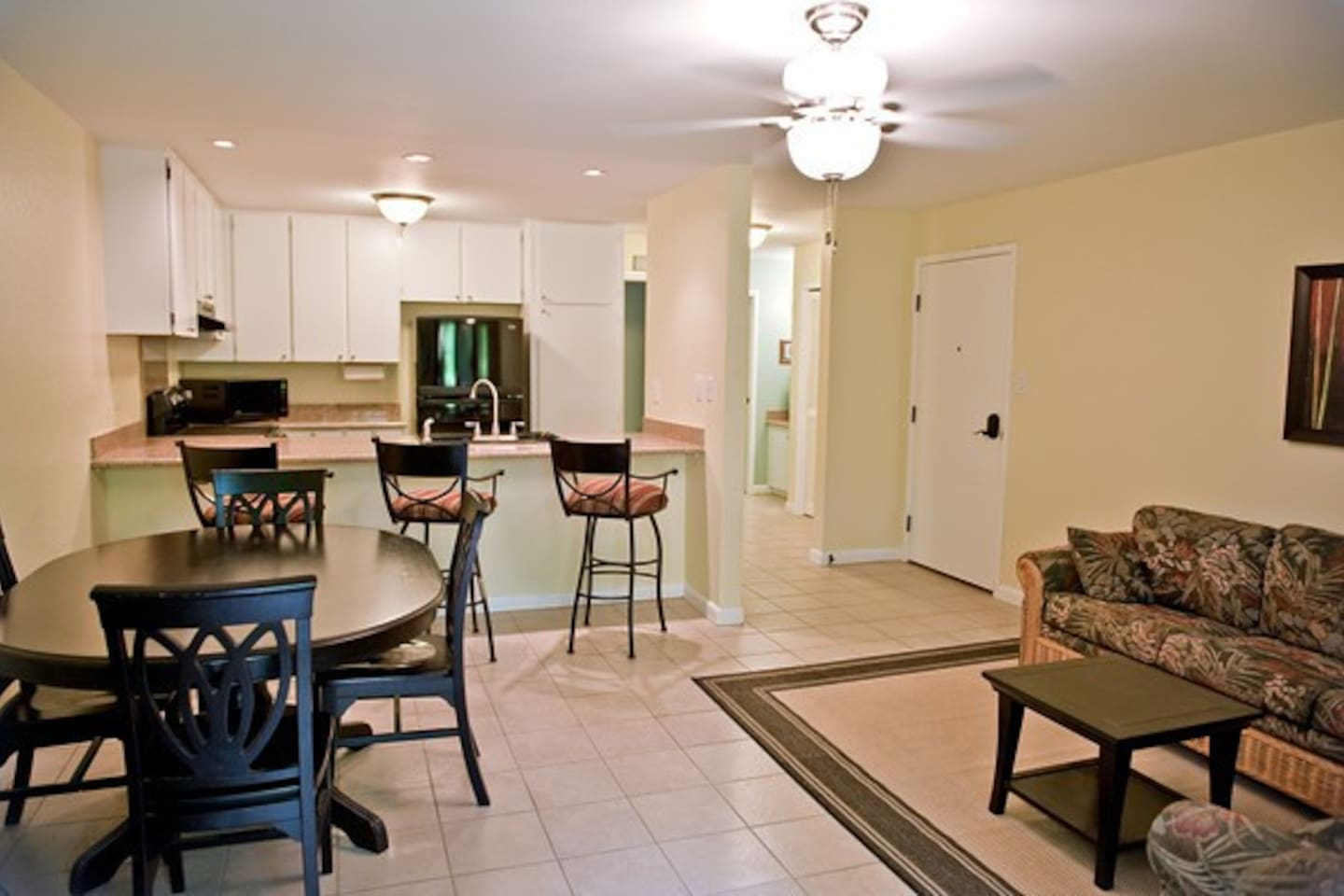 Our roomy condo perfect for a romantic getaway, or a family vacation.