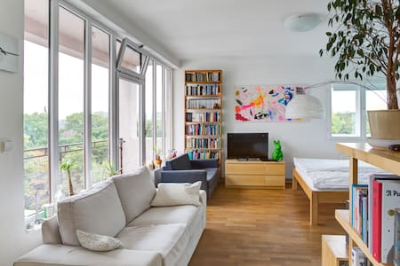Large modern studio with a view