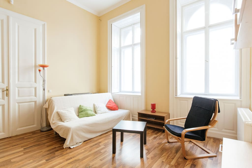Spacious livingroom with sofa bed (enough space for four).