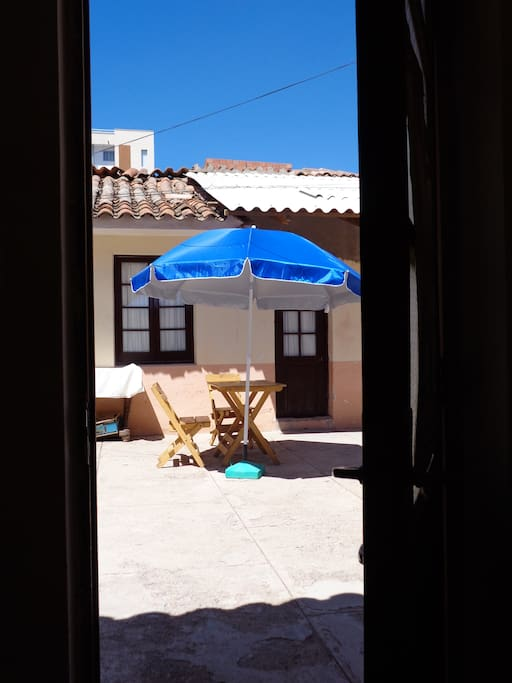 View of the courtyard from one of our double rooms