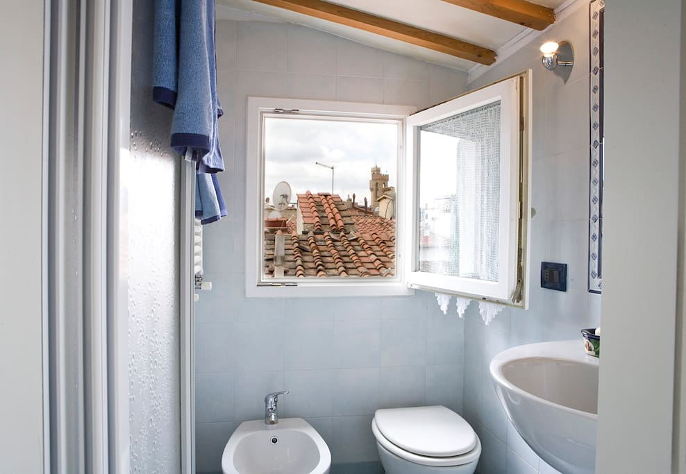 View of towers from bathroom