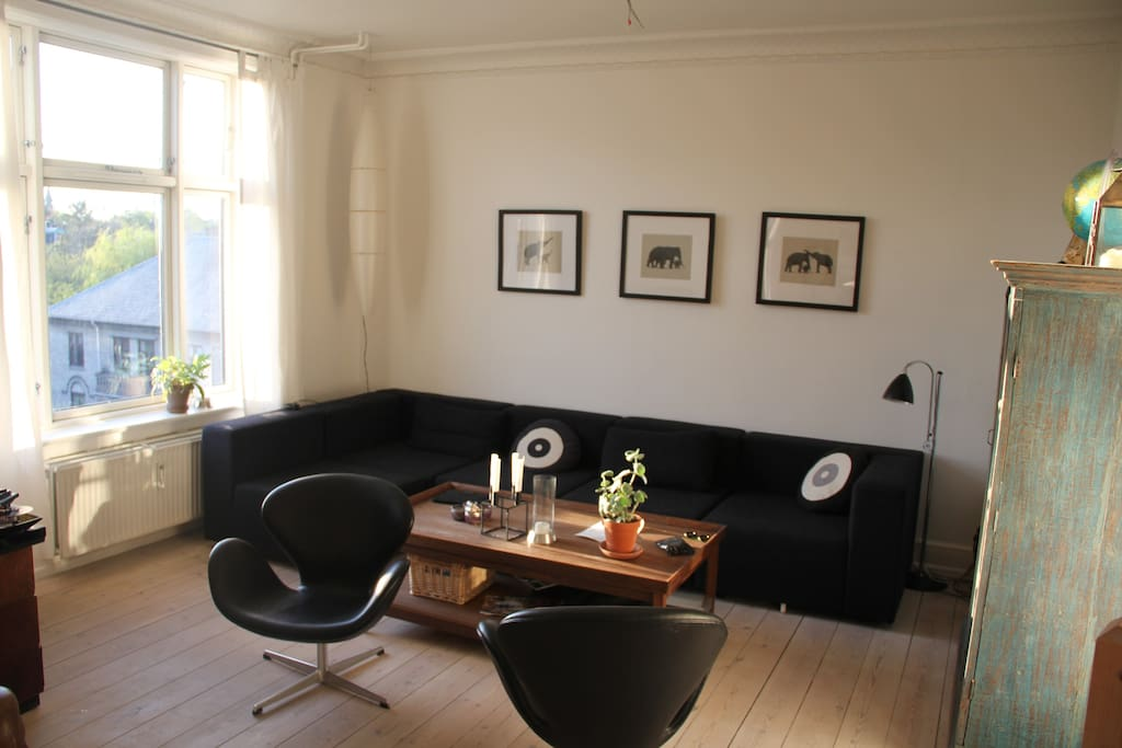 Living Room with Danish Architecture furniture