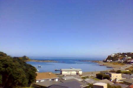 Great view over Island Bay. A short walk to the beach - great in summer. Sunny balcony. Away from the street so quiet. Please note: This accommodation is a fold-out bed in the living area.