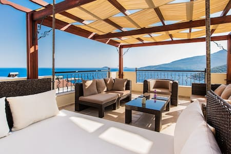 Beautiful 5 bedroom, 4 bathroom villa in Kalkan with great sea views, plus a heated, salt water, infinity pool. The self contained one bedroom annex is ideal for those who want to a bit of extra privacy. There is also a roof terrace & Ottoman Room
