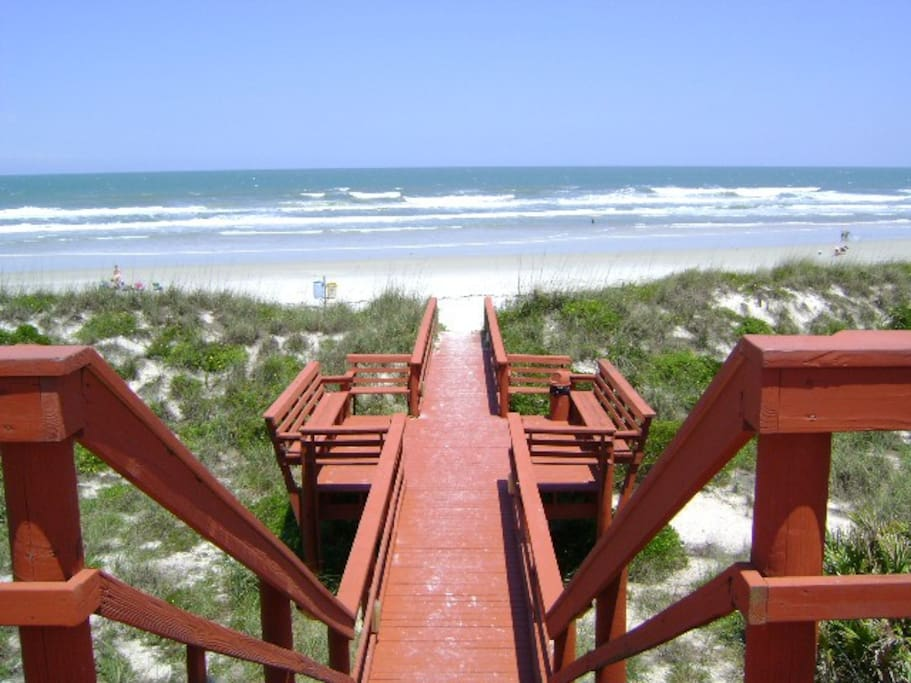 Crafted Boardwalk & Benches Lead to White Sand Beach
