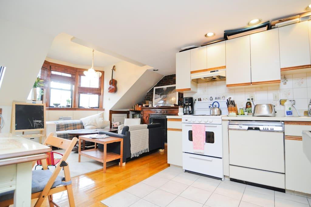 Kitchen, living room.