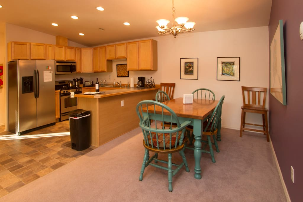 Kitchen and dining.  Fully equipped, modern, clean.