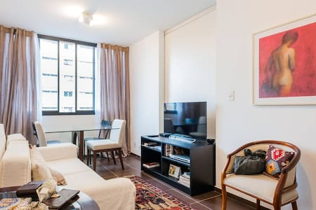 A quiet to sleep and safe one room apartment in the most modern and lively neighborhood of São Paulo! Stay 5 minutes walk from the best restaurants, bars and pubs in town. A modern, safe and creative neighborhood that will make you love this city.