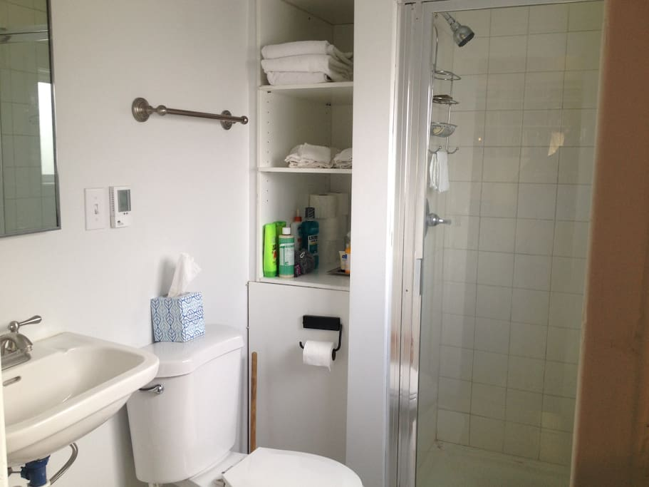 Small, clean bathroom attached to office area, fresh towels and basic amenities provided