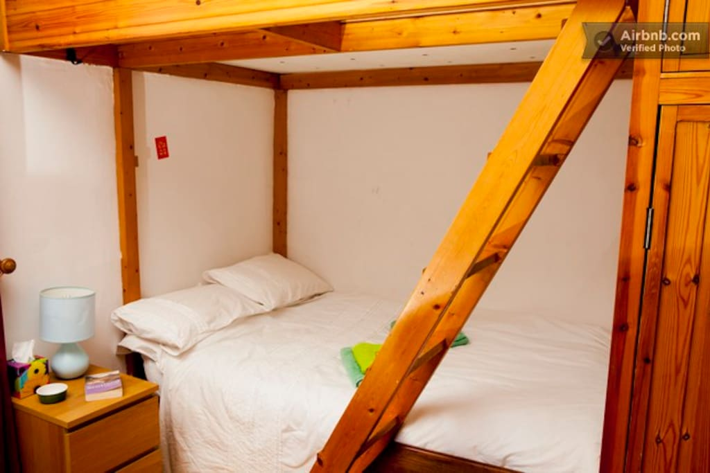 Double Bed in Cosy Alcove. This is the original Bed Recess found in Edinburgh Tenements.