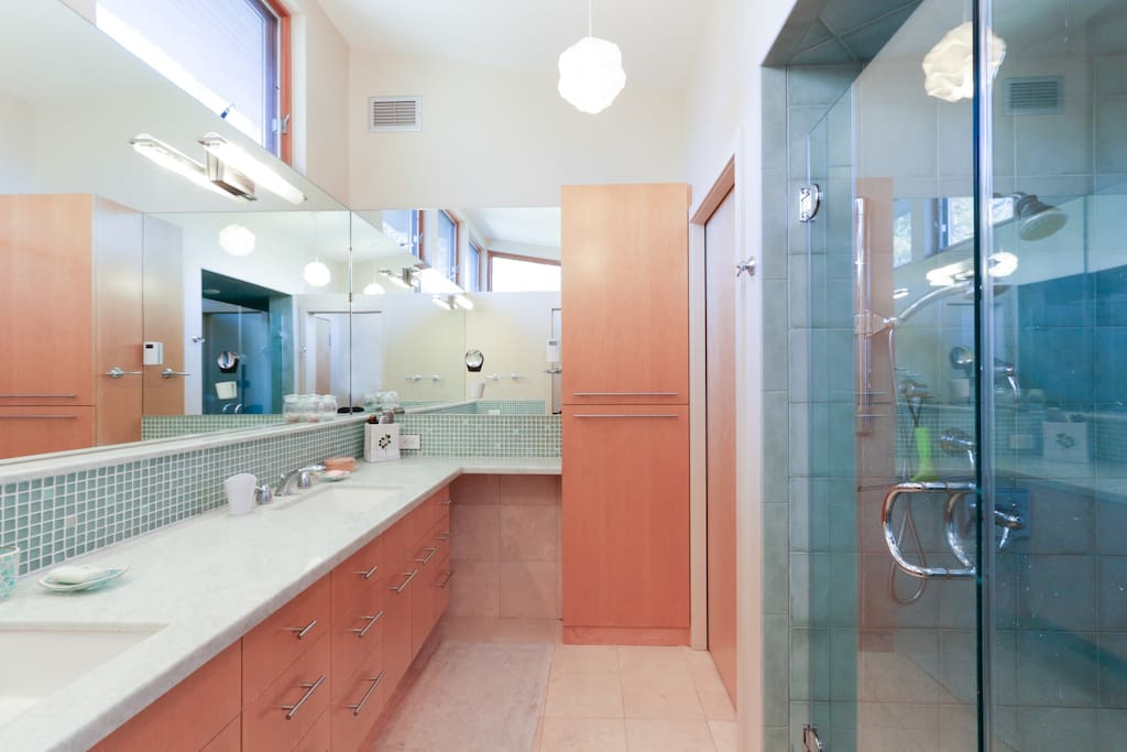 Master Bath includes large glass shower, double sinks, marble counter, and mirrored walls