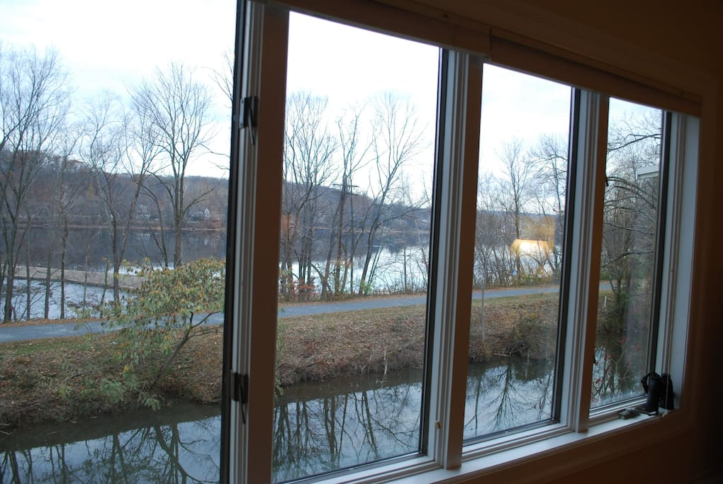 view from the living room overlooking Delaware river & Canal