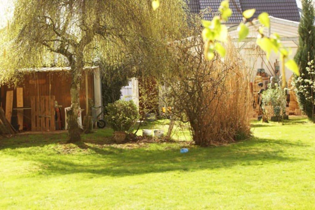 Der Garten hinter dem Haus.