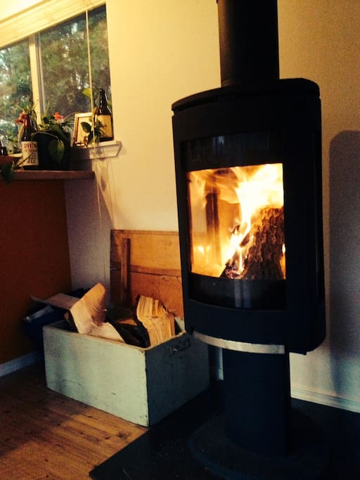 Woodfire stove in the living room.