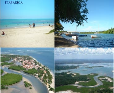 Baia de Todos os Santos, southern area about 20 km from terminals.Long beaches, bucolic landscapes. Mini independent apartment with ensuite bathroom, double bed and 2 singles.