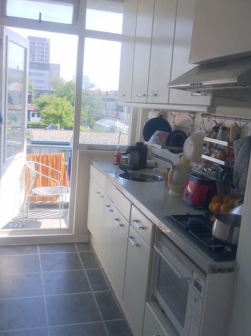 Kitchen w view to balcony & childrens farm