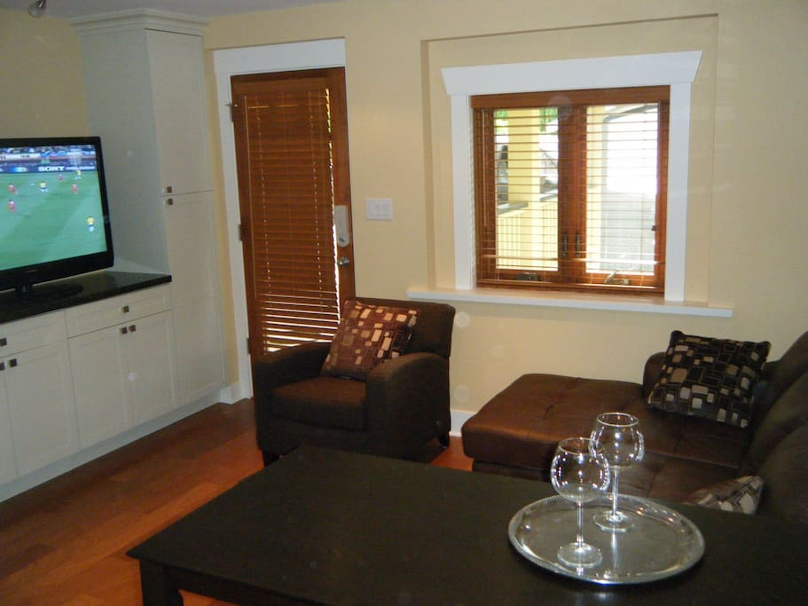 Great room - leather couch, big TV