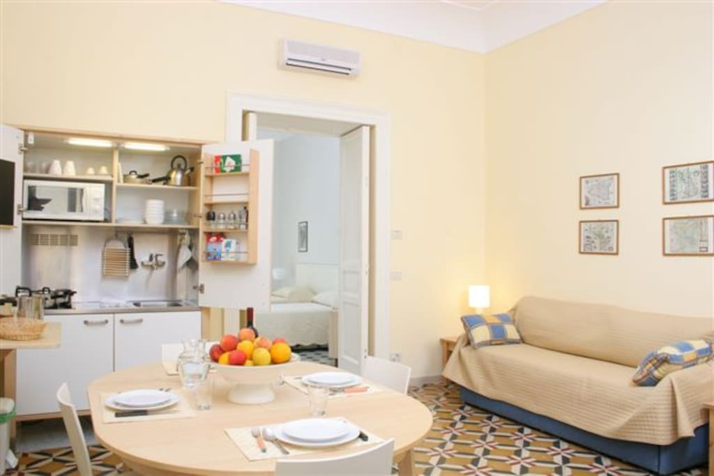 Two roomed apartment or One bedroom apartment: Living room + bedroom + bathroom