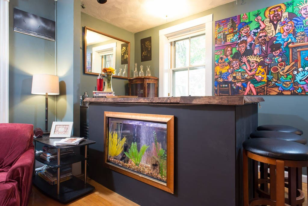 Our now World Famous Fish Tank Bar.  Help yourself!