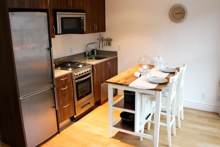 Visit New York City in style! Our sun filled luxury apartment is located in Sea Port next to the Brooklyn Bridges, Chinatown & financial district  Enjoy our fully equipped kitchen, rooftop and gym.