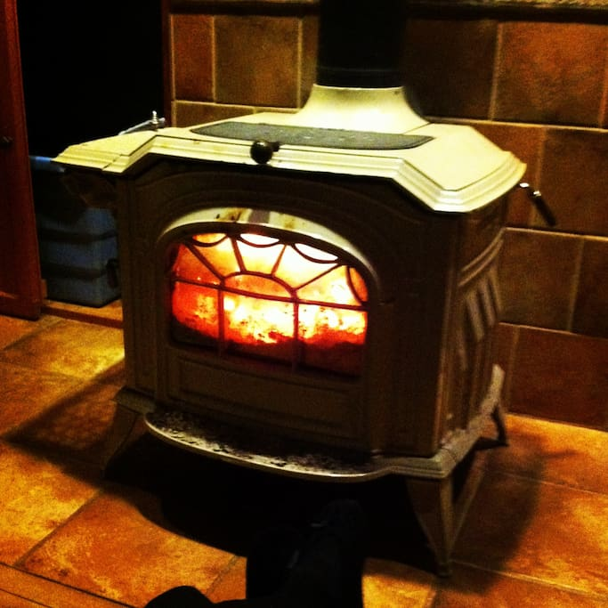 It's so nice to cozy in front of the woodstove!