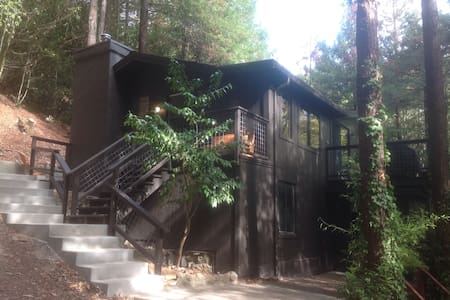 This is a secluded house in the Redwoods!  It is very private yet still quite accessible.  There is a hot tub as well as an outdoor fire pit. Comes with a fully equipped kitchen and an indoor fireplace! You will want to come back again and again!