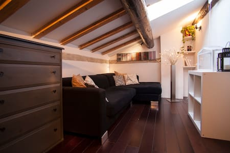 Cozy attic in the heart of Padua historical city centre. In the medieval area of the ancient ghetto, footsteps from the markets on the squares (vegetable/fresh fruits/cheese...). Can accomodate 2 people. Third floor (NO ELEVATOR!). Air conditioned.