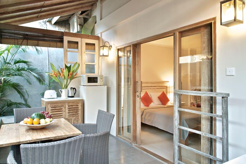Private terrace with kitchen corner.