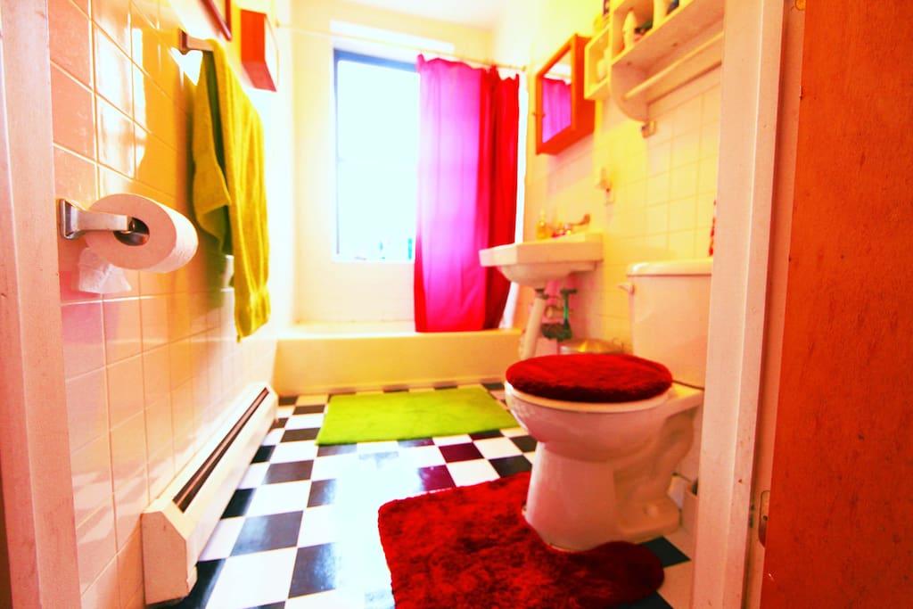 Colorful bathroom.