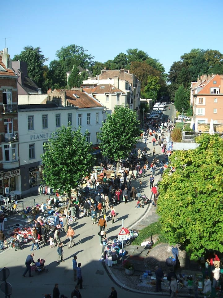 View from Living Room balcony on a market day