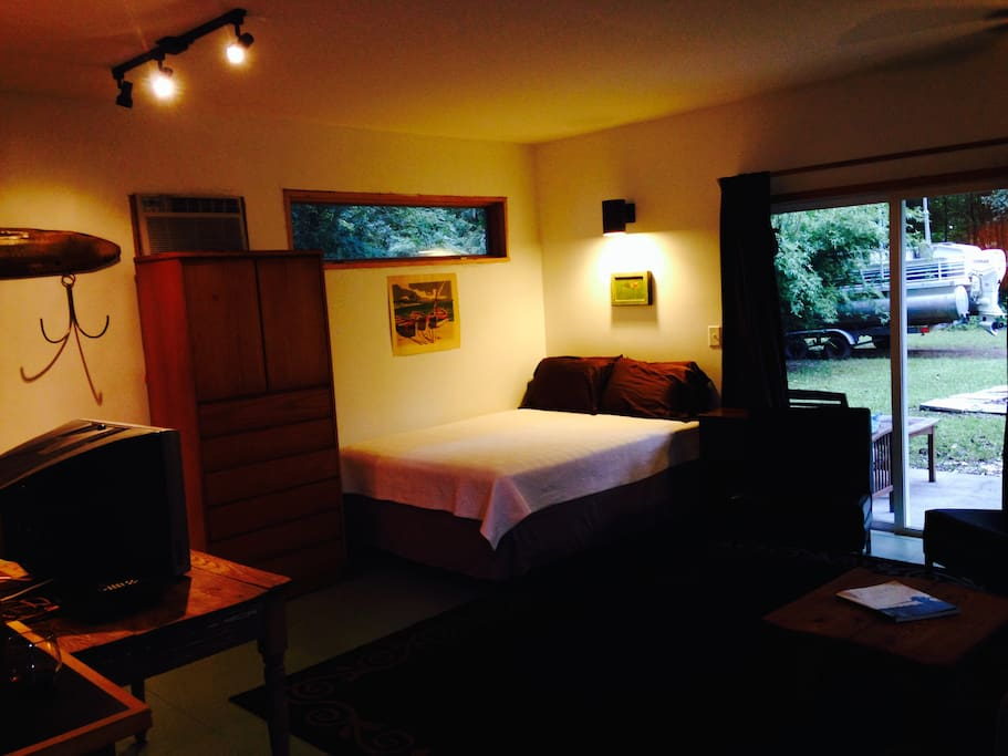 We have a comfortable queen-sized bed with storage for your  clothes in the dresser.  We provide extra linens and a nice new air mattress for those that need it.