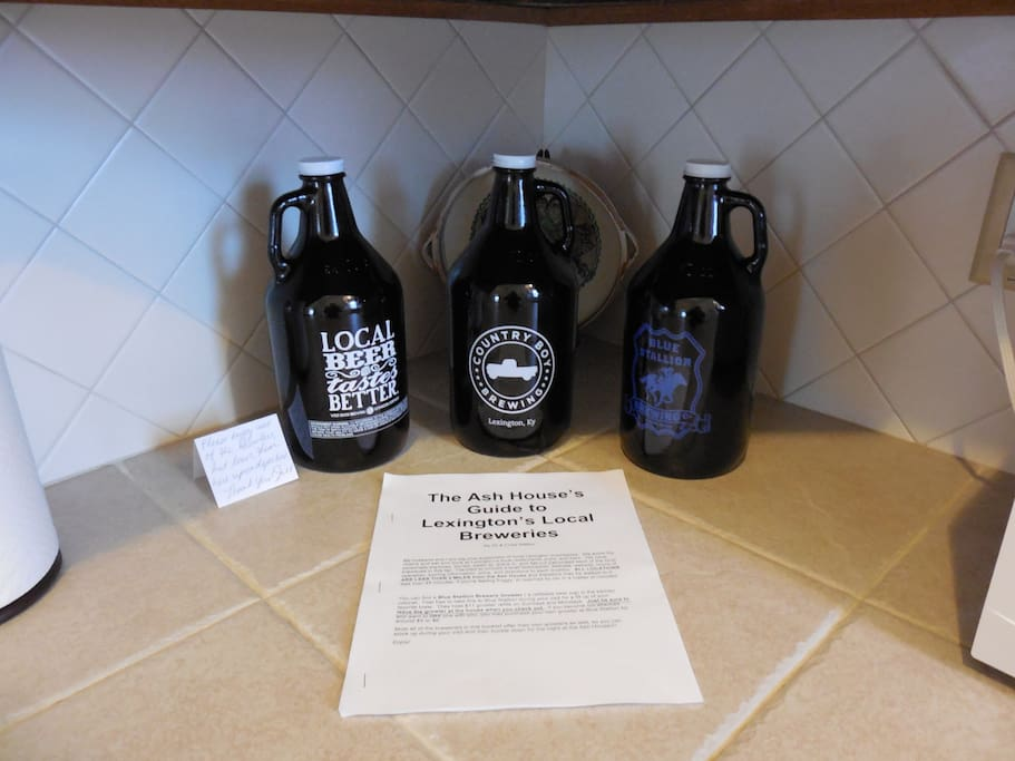 Tour Lexington's local artisan breweries with our booklet as your guide and use the refillable growlers to bring back your favorite brew! Home is within 0.6 miles to 2 miles from all Lexington's local breweries.