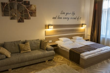 The apartment is located in the heart of the city, stepping out from the building we find ourselves in the center of Debrecen