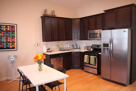 Spacious, light, airy, quiet renovated 2-bedroom 1-bath apartment.  Located on the 3rd floor of a house on a quiet residential block in Bushwick, close to Bed-Stuy and Williamsburg, and around the corner from the JMZ trains.