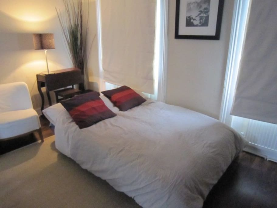 Superb new sofa bed in living room- seats 3, sleeps 2