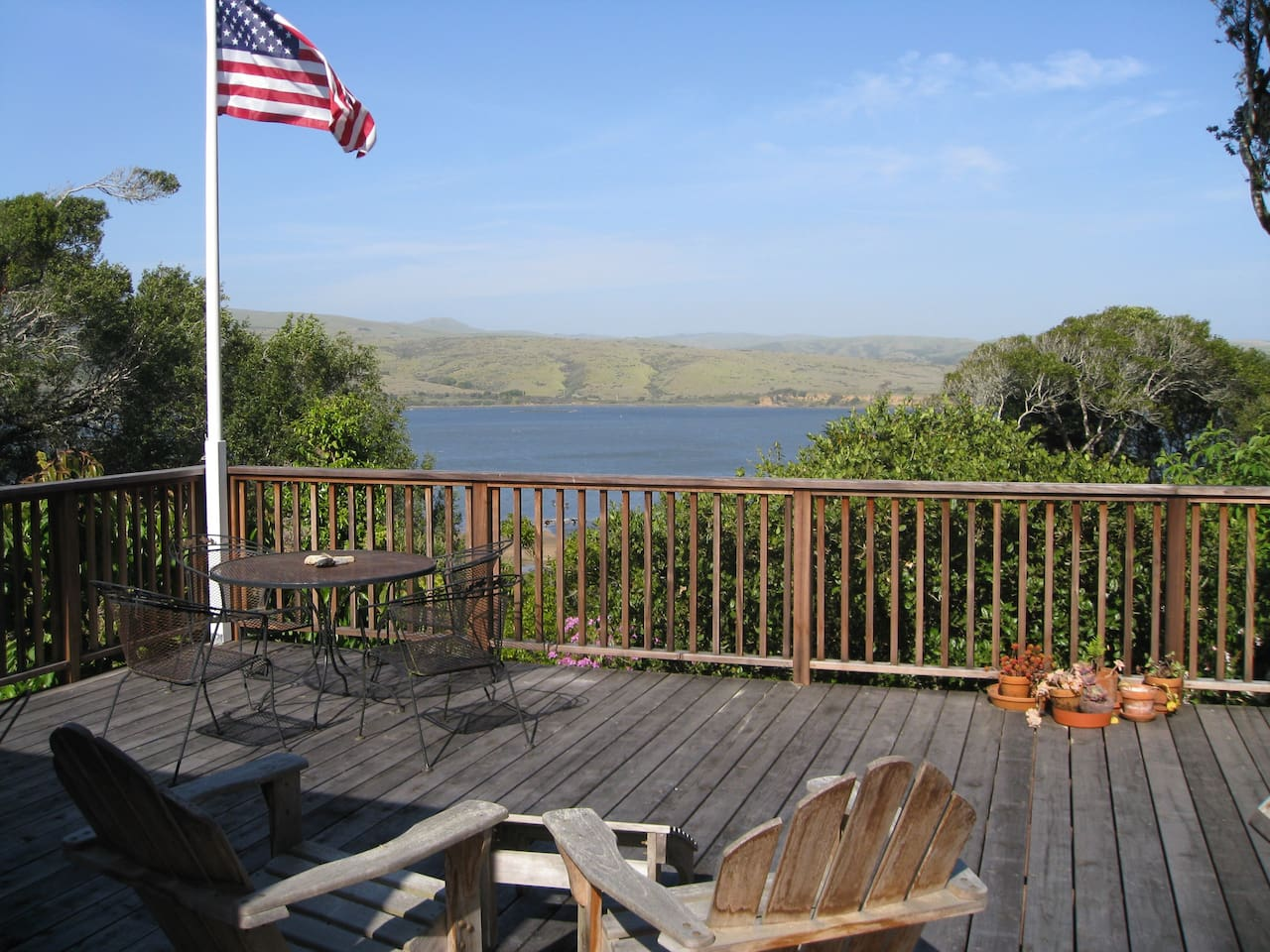 Enjoy panoramic views of Tomales Bay and Black (Elephant) Mountain from the large deck and living areas