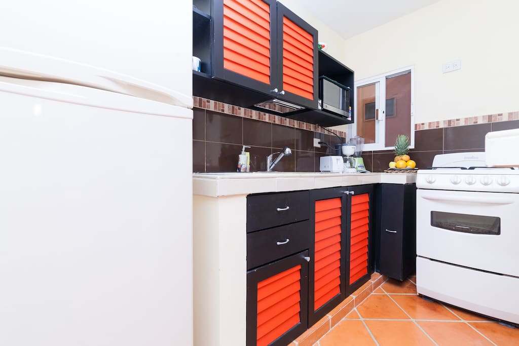 Full equiped kitchen, gas stove with oven.