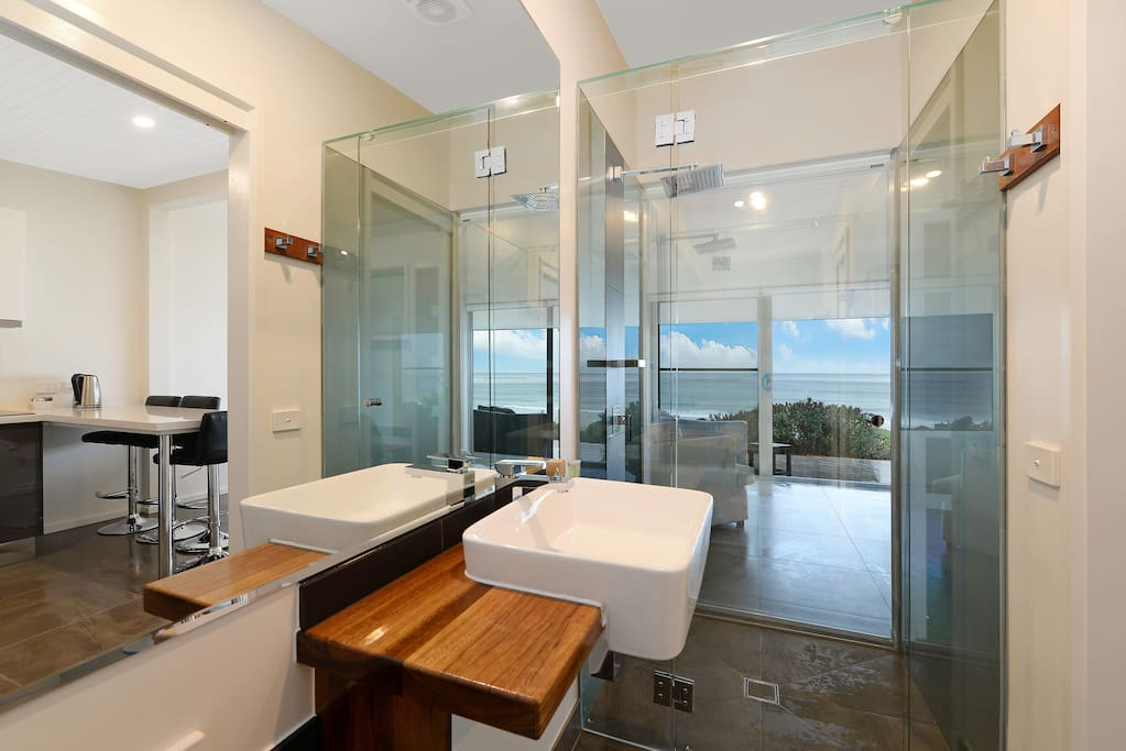Bathroom with beachview from the shower, and all solid timberwork