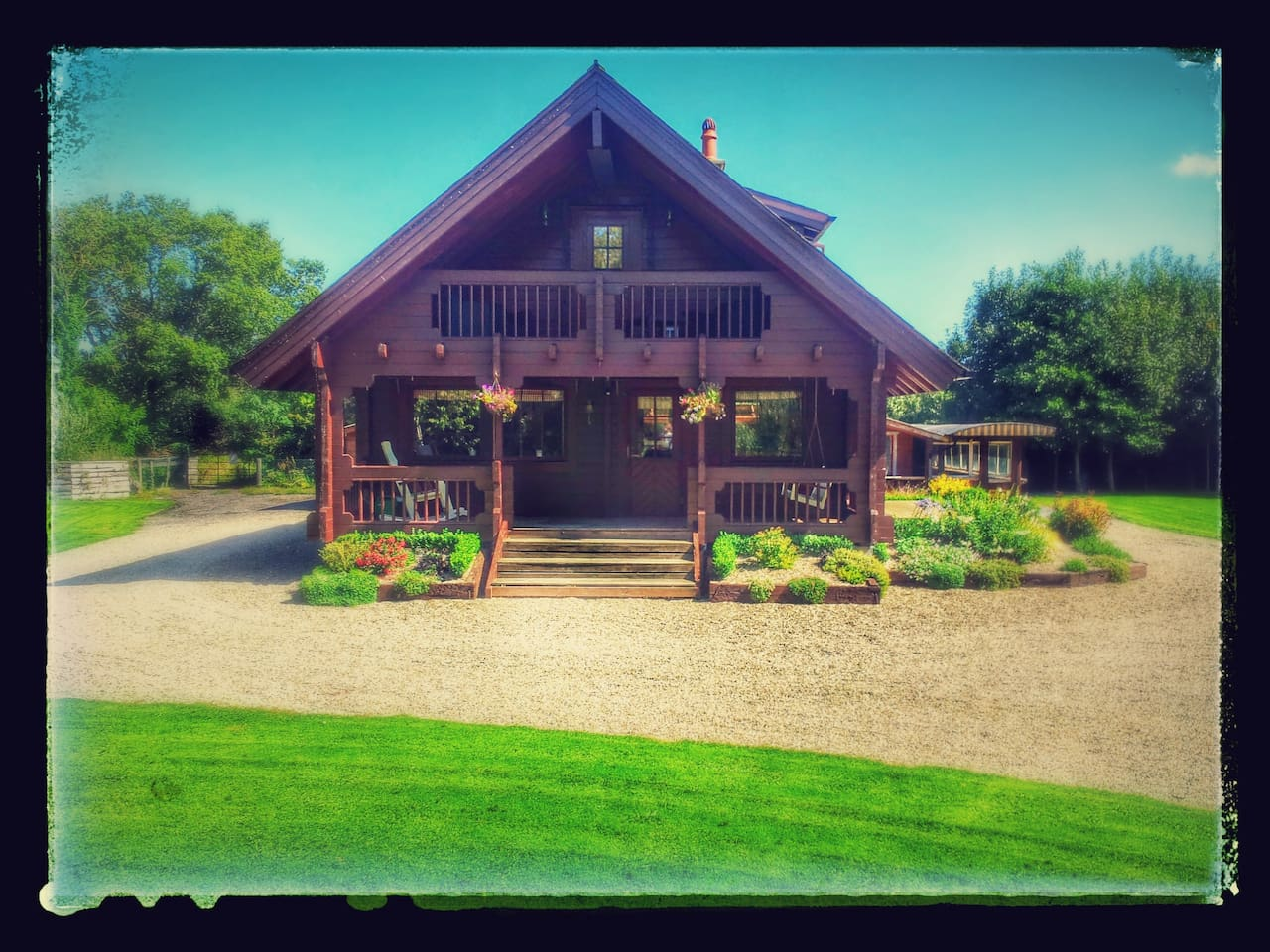 Picturesque Scandinavian Log Cabin with large Woodland Garden