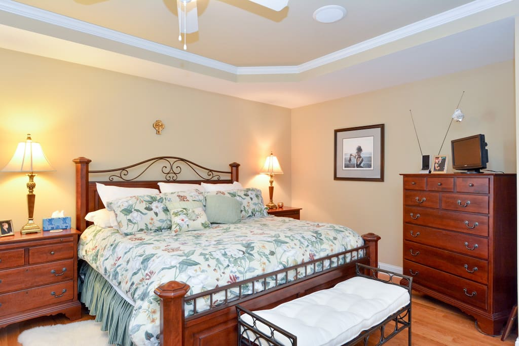 Master Bedroom Downstairs with King Bed and full Private Bathroom