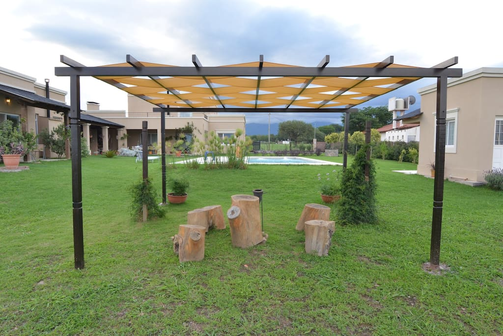 Big pergola to sit or lie in the shadow
