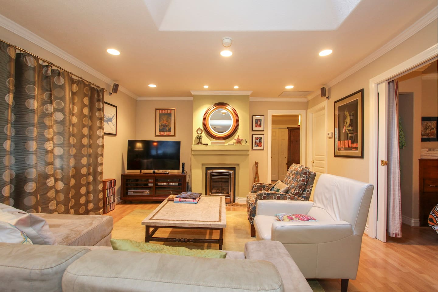 Enjoy the cozy living space!  Curl up in front of the fire!