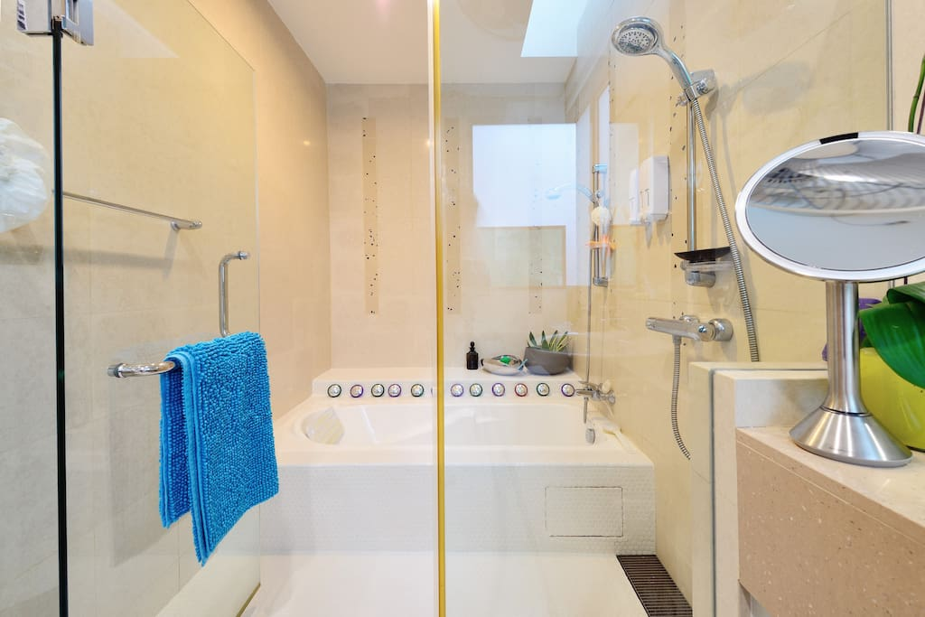 This room has the largest bathroom in the house - 7.65 sq metres.  Shower and bath tub within enclosed area.