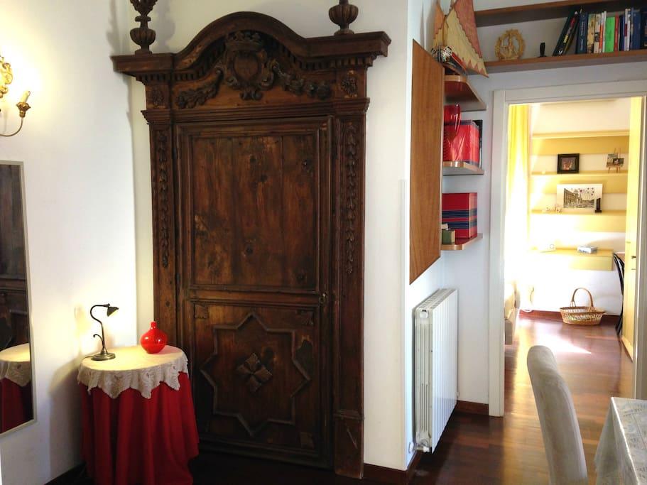 Ancient door, wooden Sicilian, XIV century, living room