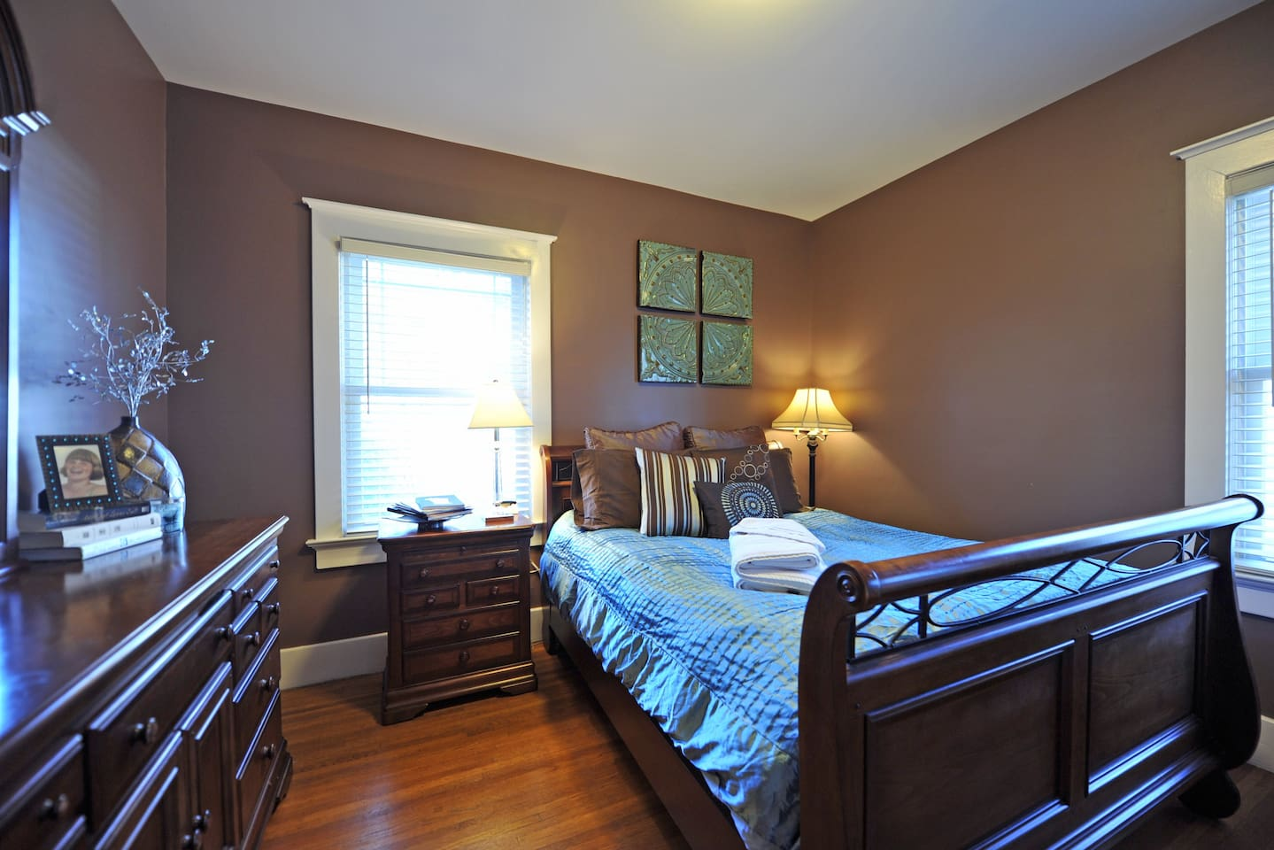 Your bedroom.  Features a firm, queen size pillow top mattress, dresser, nightstand and closet.