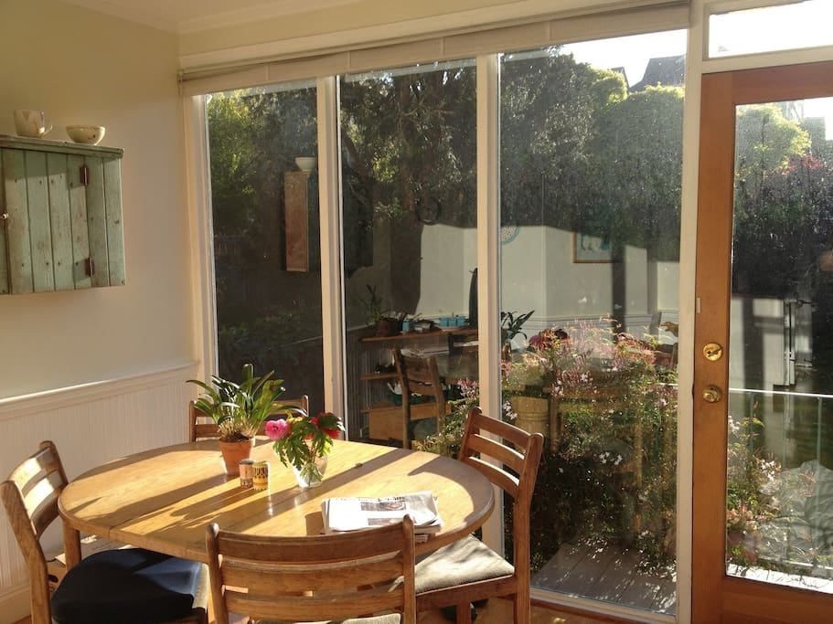 Dining table looking out on garden