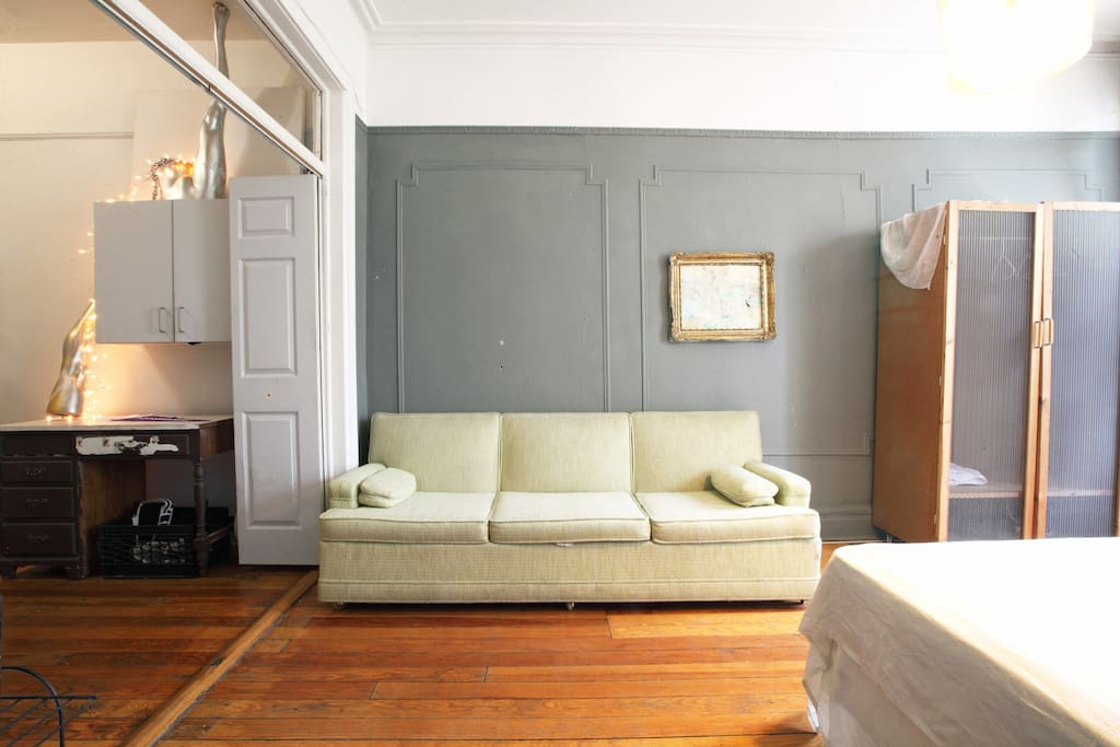 comfy couch!! perfect for a 2nd or 3rd guest !!