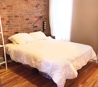 My sunny 2 bedroom apartment with exposed brick walls is perfectly located in Williamsburg, with the subway 2 minutes away and only one stop to Manhattan. This safe neighborhood has tons of great restaurants and bars, and designer and vintage shops.